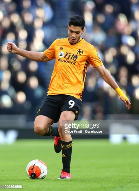 Raul Jimenez of Wolverhampton Wanderers during the Premier League match between Tottenham Hotspur and Wolverhampton Wanderers at Tottenham Hotspur...