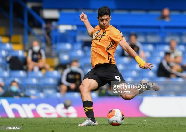 Raul Jimenez of Wolverhampton Wanderers has a shot at goal during the Premier League match between Chelsea FC and Wolverhampton Wanderers at Stamford...