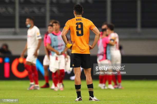 Raul Jimenez of Wolverhampton Wanderers looks dejected at the end of the UEFA Europa League Quarter Final between Wolves and Sevilla at MSV Arena on...