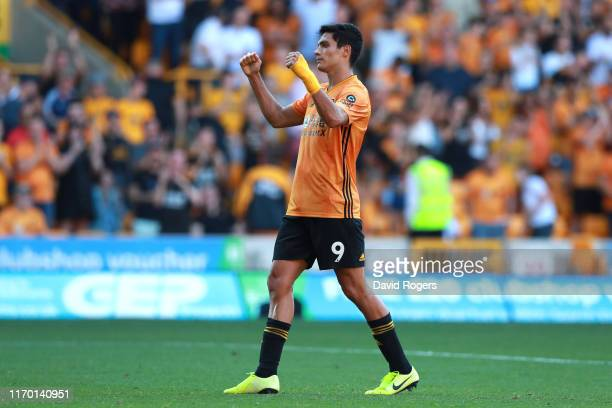 Raul Jimenez of Wolverhampton Wanderers reacts after the Premier League match between Wolverhampton Wanderers and Burnley FC at Molineux on August 25...