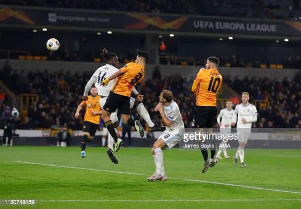 Raul Jimenez of Wolverhampton Wanderers scores a goal to make it 10 during the UEFA Europa League group K match between Wolverhampton Wanderers and...