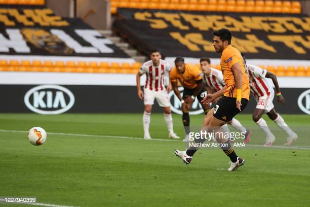 Raul Jimenez of Wolverhampton Wanderers scores a goal to make it 10 during the UEFA Europa League round of 16 second leg match between Wolverhampton...