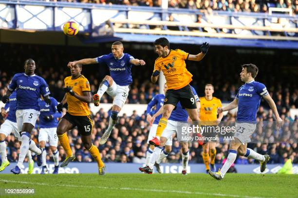Raul Jimenez of Wolverhampton Wanderers scores a goal to make it 12 during the Premier League match between Everton FC and Wolverhampton Wanderers at...