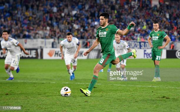 Raul Jimenez of Wolverhampton Wanderers scores a goal to make it 12 from a penalty kick during the UEFA Europa League group K match between Slovan...