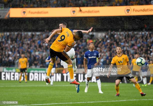 Raul Jimenez of Wolverhampton Wanderers scores a goal to make it 22 during the Premier League match between Wolverhampton Wanderers and Everton FC at...