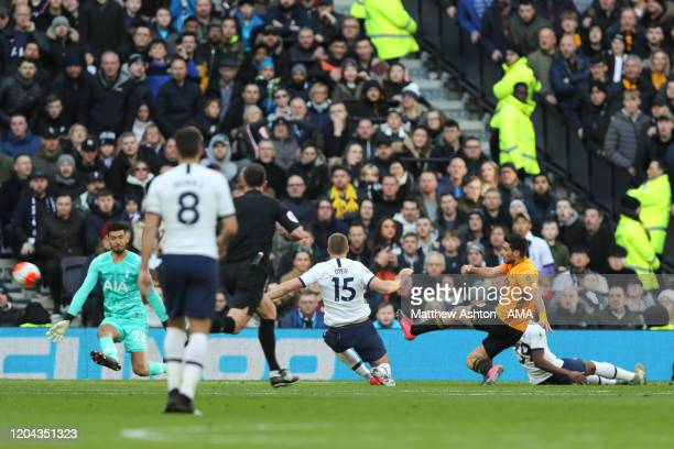 Raul Jimenez of Wolverhampton Wanderers scores a goal to make it 23 during the Premier League match between Tottenham Hotspur and Wolverhampton...
