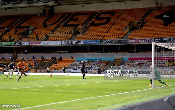 Raul Jimenez of Wolverhampton Wanderers scores his sides first goal from the penalty spot during during the Premier League match between...