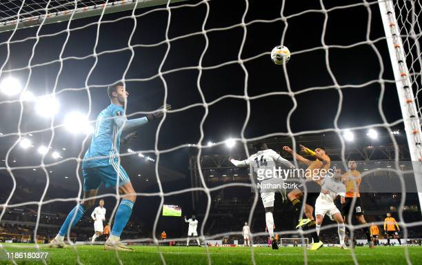 Raul Jimenez of Wolverhampton Wanderers scores his team's first goal during the UEFA Europa League group K match between Wolverhampton Wanderers and...