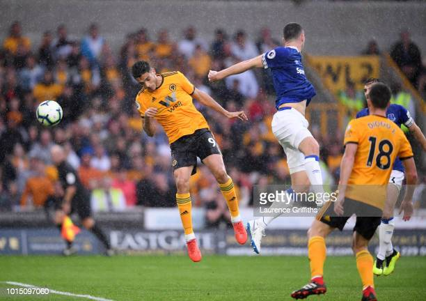 Raul Jimenez of Wolverhampton Wanderers scores his team's second goal during the Premier League match between Wolverhampton Wanderers and Everton FC...