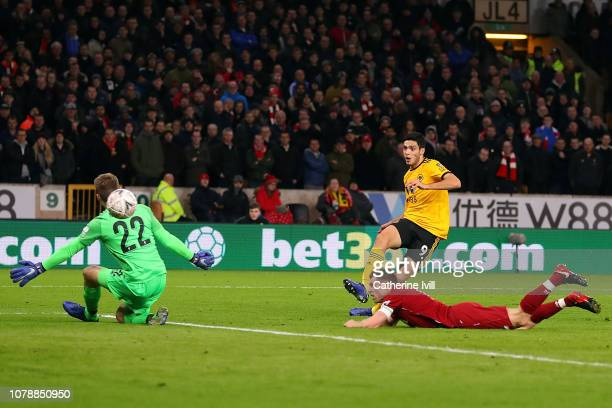 Raul Jimenez of Wolverhampton Wanderers scores the opening goal during the Emirates FA Cup Third Round match between Wolverhampton Wanderers and...