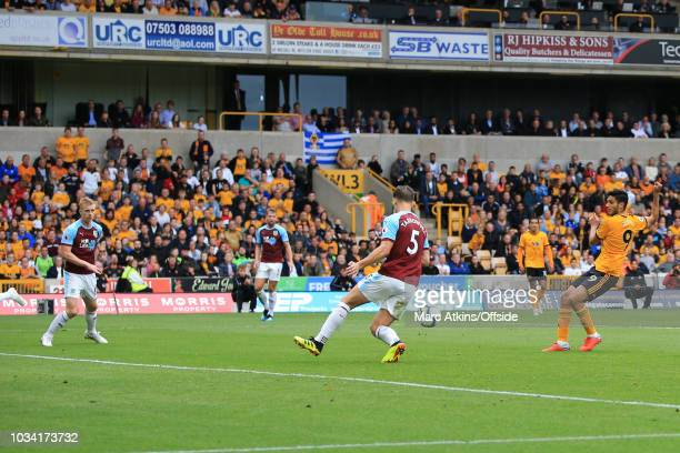 Raul Jimenez of Wolverhampton Wanderers scores the winning goal during the Premier League match between Wolverhampton Wanderers and Burnley FC at...