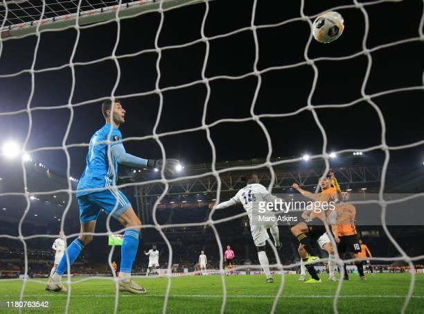 Raul Jimenez of Wolverhampton Wanderers scores the winning goal during the UEFA Europa League group K match between Wolverhampton Wanderers and...