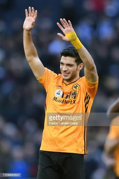 Raul Jimenez of Wolverhampton Wanderers shows appreciation to the fans after the Premier League match between Tottenham Hotspur and Wolverhampton...