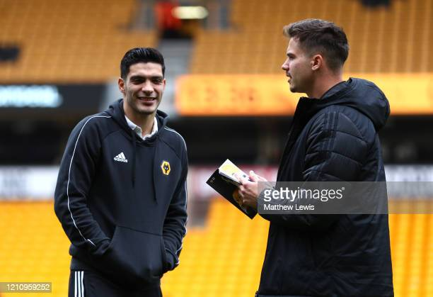 Raul Jimenez of Wolverhampton Wanderers takes a look around the pitch prior to the Premier League match between Wolverhampton Wanderers and Brighton...