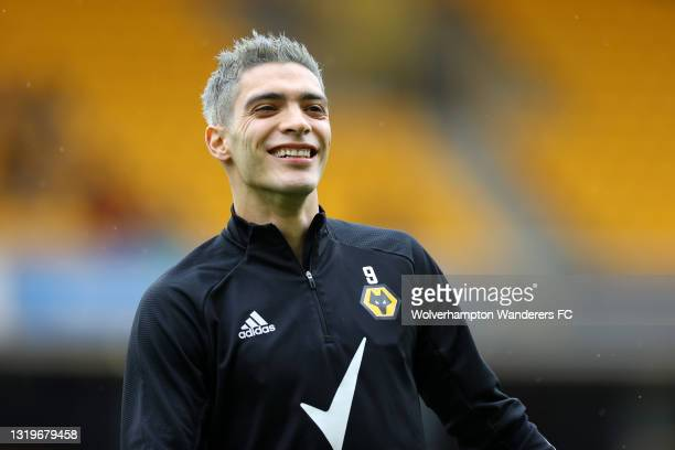 Raul Jimenez of Wolverhampton Wanderers warms up during the Premier League match between Wolverhampton Wanderers and Manchester United at Molineux on...