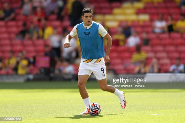 Raul Jimenez of Wolverhampton Wanderers warms up prior to the Premier League match between Watford and Wolverhampton Wanderers at Vicarage Road on...