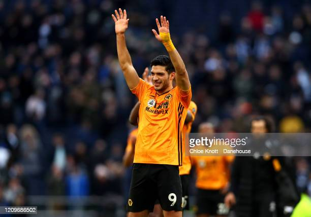 Raul Jimenez of Wolverhampton Wanderers waves at the fans after the Premier League match between Tottenham Hotspur and Wolverhampton Wanderers at...
