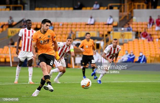Raul Jimenez of Wolves scores his sides first goal from the penalty spot during the UEFA Europa League round of 16 second leg match between...
