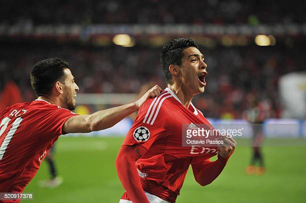 Raul Jiménez of SL Benfica celebrates after scoring the first goal against FC Bayern Muenchen during the UEFA Champions league Quarter Final Second...