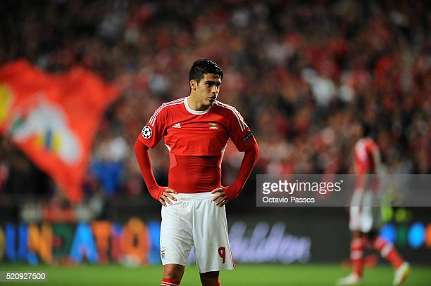 Raul Jiménez of SL Benfica reacts in the end of the UEFA Champions league Quarter Final Second Leg match between SL Benfica and FC Bayern Muenchen at...