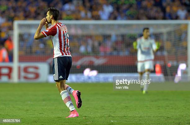 Raul Lopez of Chivas celebrates after scoring the first goal of his team during a 3rd round match between Tigres UANL and Chivas as part of the...