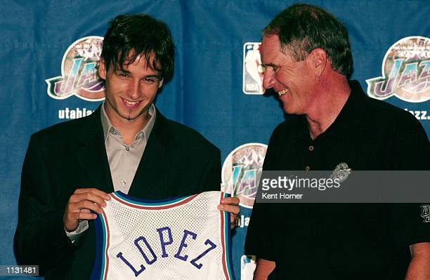 Raul Lopez of Spain is introduced by the Utah Jazz at the Delta Center on July 17 2002 in Salt Lake City Utah NOTE TO USER User expressly...