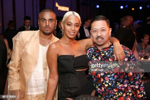 Raul Lopez Solange Knowles and Humberto Leon attend the 70th Annual Parsons Benefit on May 21 2018 in New York City