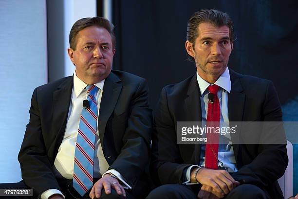 Raul MartinezOstos managing director and country head of Mexico at Barclays right speaks beside Alberto S Jones Tamayo chief executive officer of...