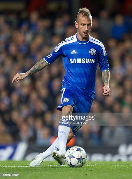 Raul Meireles in action for Chelsea during the UEFA Champions League Group E match between Chelsea and KRC Genk at Stamford Bridge on October 19 2011...