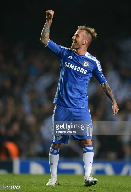 Raul Meireles of Chelsea celebrates scoring their second goa at the final whistlel during the UEFA Champions League Quarter Final second leg match...