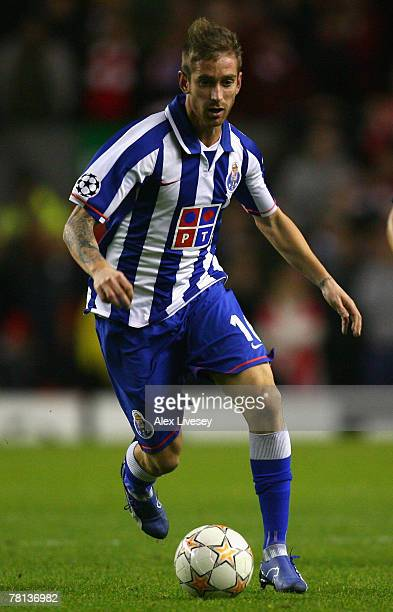 Raul Meireles of FC Porto in action during the UEFA Champions League Group A match between Liverpool and FC Porto at Anfield on November 28 2007 in...