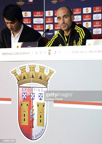 Raul Meireles of Liverpool attends a press conference ahead of their UEFA Europa League Round of 16 match against Braga at Estadio Municipal de Braga...