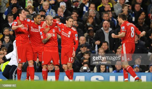 Raul Meireles of Liverpool celebrates after scoring the only goal during a Barclays Premier League match between Chelsea and Liverpool at Stamford...