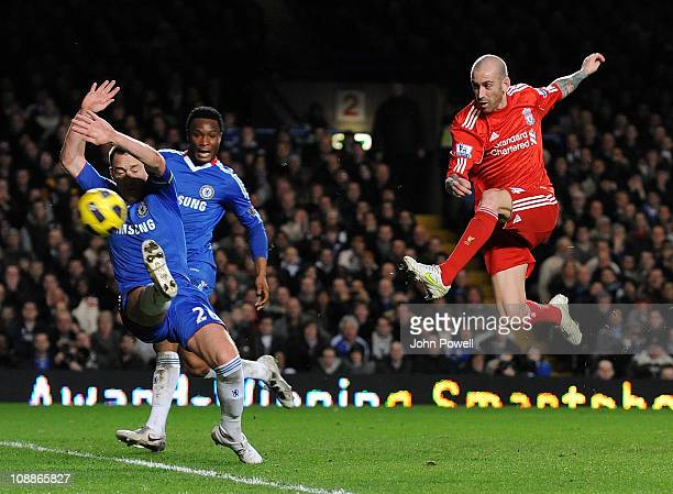 Raul Meireles of Liverpool scores the only goal during the Barclays Premier League match between Chelsea and Liverpool at Stamford Bridge on February...