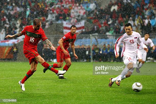 Raul Meireles of Portugal scores the opening goal during the 2010 FIFA World Cup South Africa Group G match between Portugal and North Korea at the...