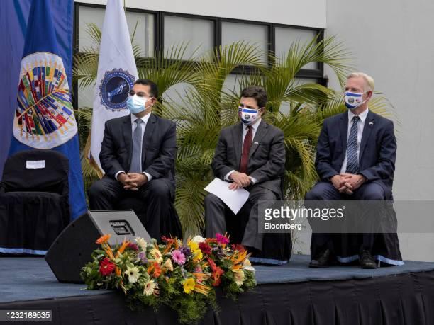 Raul Melara, El Salvador attorney general, from left, Ricardo Zuniga, U.S. Special Envoy for the Northern Triangle, and Brendan O'Brien, U.S. Embassy...