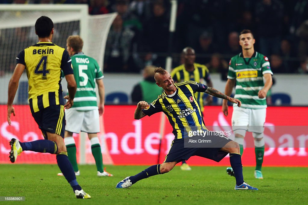 Raul Mereiles of Fenerbahce celebrates his team's second goal during the UEFA Europa League group C match between Borussia Moenchengladbach and Fenerbahce SK at Borussia-Park on October 4, 2012 in Moenchengladbach, Germany.