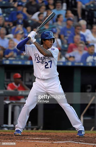Raul Mondesi of the Kansas City Royals bats against the Los Angeles Angels of Anaheim in the third inning at Kauffman Stadium on July 26 2016 in...