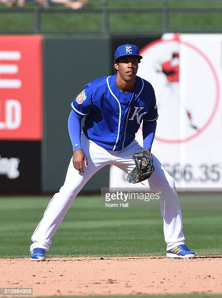 Raul Mondesi of the Kansas City Royals gets ready to make a play against the Chicago White Sox at Surprise Stadium on March 14 2016 in Surprise...