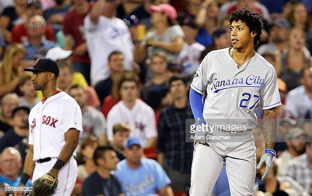 Raul Mondesi of the Kansas City Royals looks on after hitting a threeRBItriple in the sixth inning during a game against the Boston Red Sox on August...