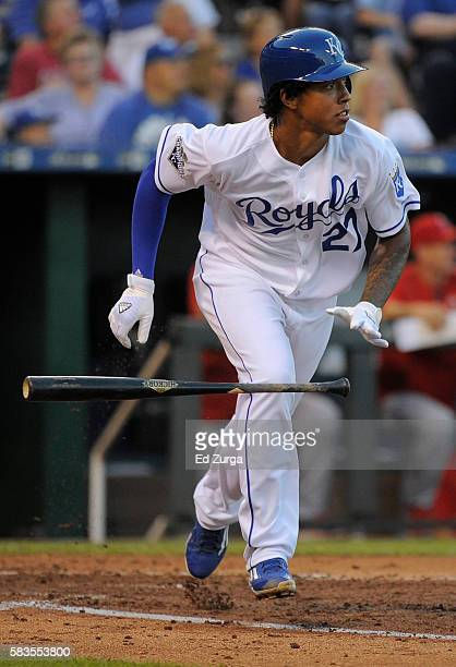 Raul Mondesi of the Kansas City Royals runs out a fly out to center in the third inning against the Los Angeles Angels of Anaheim at Kauffman Stadium...