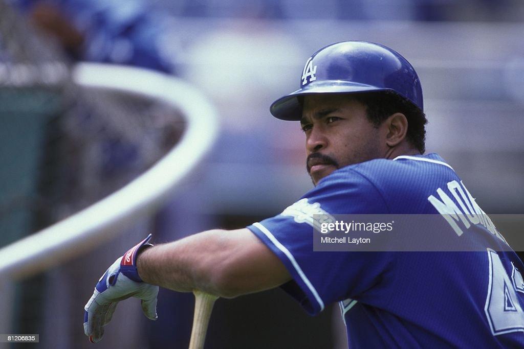 Raul Mondesi #43 of the Los Angeles Dodgers before a baseball game against the Philadelphia Phillies on May 15, 1999 at Veterans Stadium in Philadelphia, Pennsylvania.