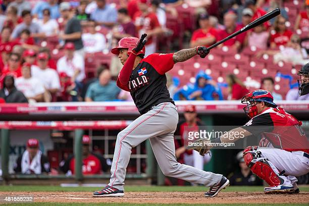 Raul Mondesi of the World Team bats during the SiriusXM AllStar Futures Game at the Great American Ball Park on July 12 2015 in Cincinnati Ohio