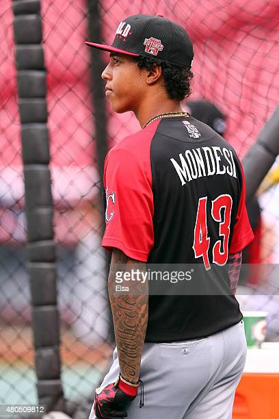 Raul Mondesi of the World Team looks on during batting practice before the SiriusXM AllStar Futures Game at the Great American Ball Park on July 12...