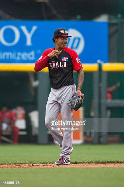 Raul Mondesi of the World Team looks on during the SiriusXM AllStar Futures Game at the Great American Ball Park on July 12 2015 in Cincinnati Ohio
