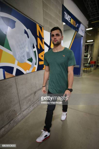 Raul Neto of the Utah Jazz arrives at the arena before Game Three of the Western Conference Semifinals against the Golden State Warriors during the...