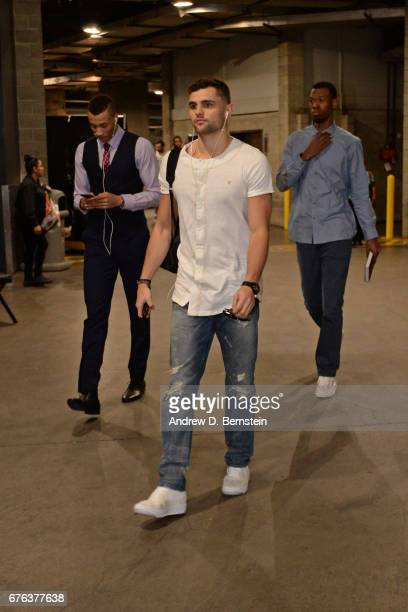 Raul Neto of the Utah Jazz arrives before Game Seven of the Western Conference Quarterfinals against the LA Clippers of the 2017 NBA Playoffs on...