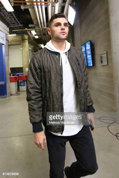 Raul Neto of the Utah Jazz arrives before the game against the LA Clippers in Game Six of the Western Conference Quarterfinals of the 2017 NBA...