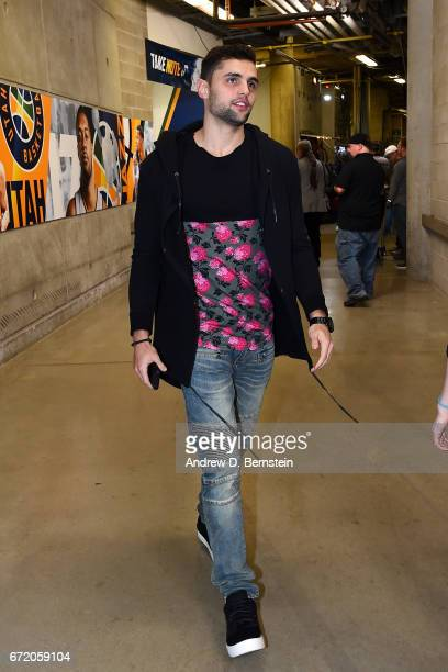 Raul Neto of the Utah Jazz arrives to the arena before the game between the LA Clippers and the Utah Jazz in Game Four during the Western Conference...