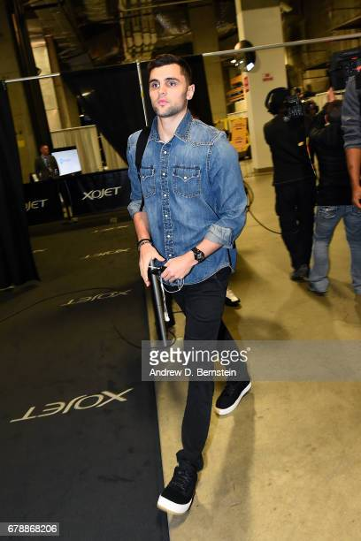 Raul Neto of the Utah Jazz arrives to the arena before the game against the Golden State Warriors during Game Two of the Western Conference...